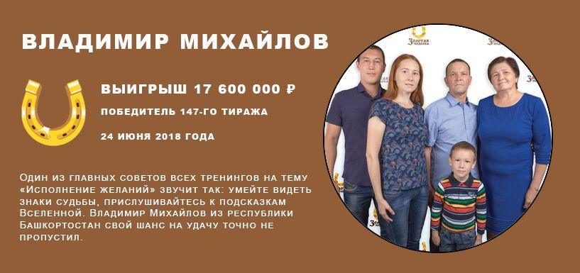 Владимир Михайлов Выигрыш 17 600 000 ₽
